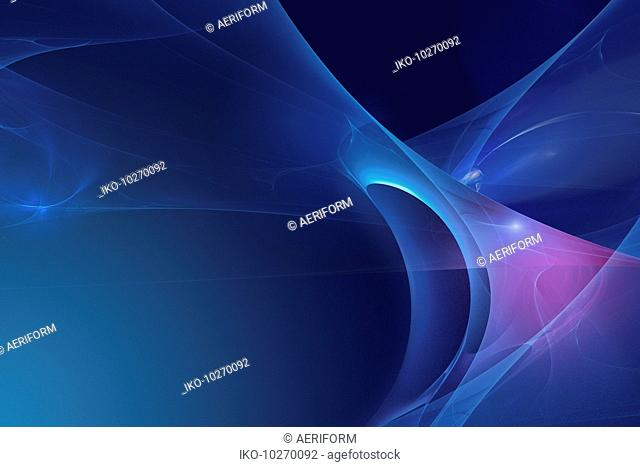 Abstract glowing blue undulating shapes