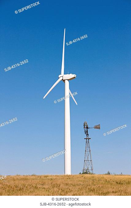 Classic Aermotor Windmill and a Modern Wind Turbine