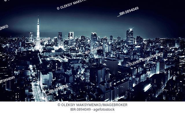 Cityscape at night, Minato, Tokyo, Japan