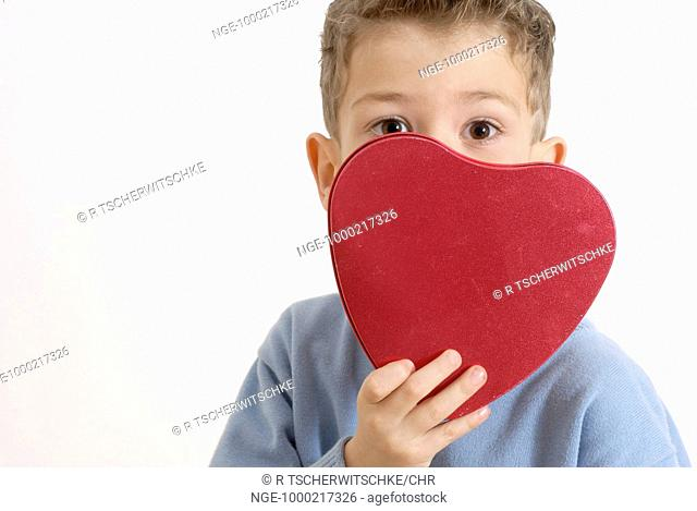 Little Boy with red Heart