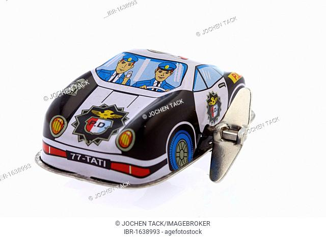 Police car, tin toy car, wind-up toy