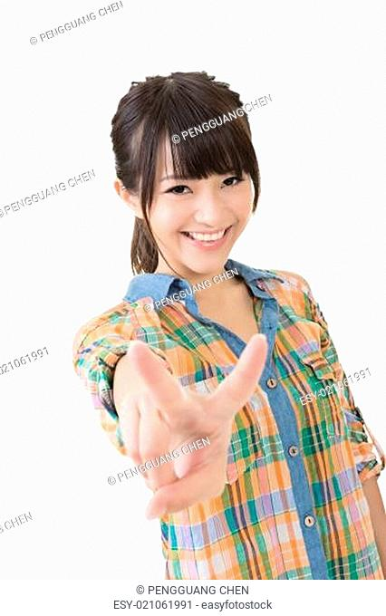 Young asian woman showing the peace or victory hand sign
