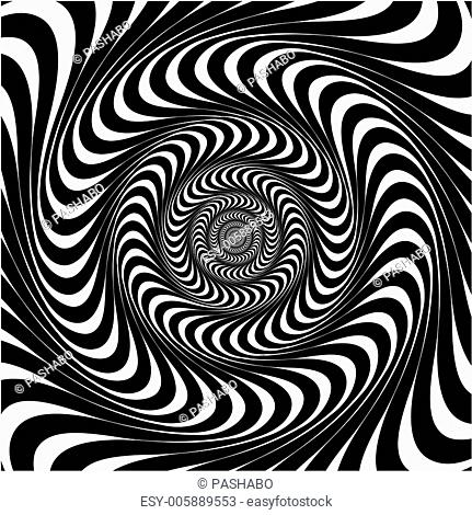 Black and white swirl lines. Optical illusion background, vector