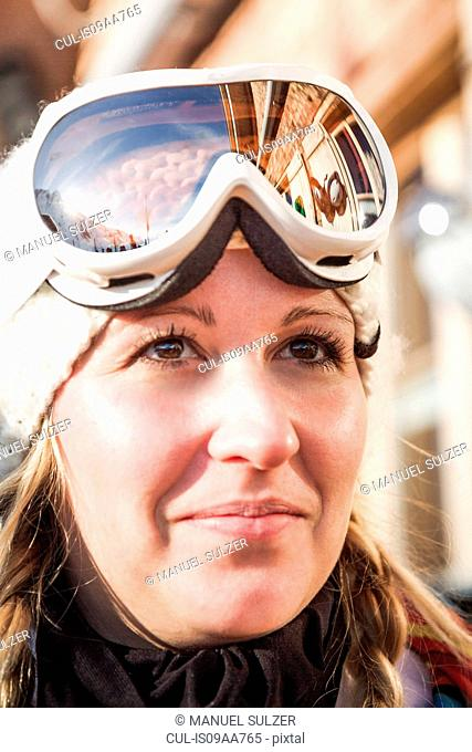 Close up portrait of young female skier, Warth, Vorarlberg, Austria