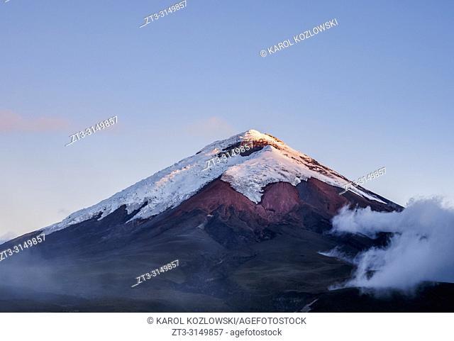 Cotopaxi Volcano at sunset, Cotopaxi National Park, Cotopaxi Province, Ecuador