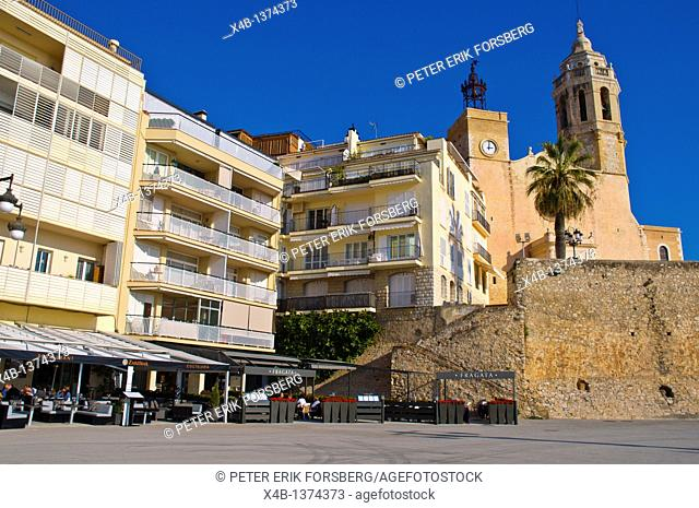 Placa des Baluard square with La Punta church Sitges Catalunya Spain Europe