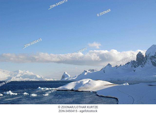 High Mountains, snow and ice-scape at Cuverville Island, Antarctic Peninsular