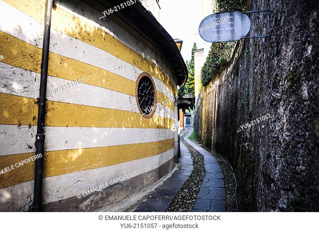Old houses and street, St Julius Island, Lake Orta, Piedmont, Italy