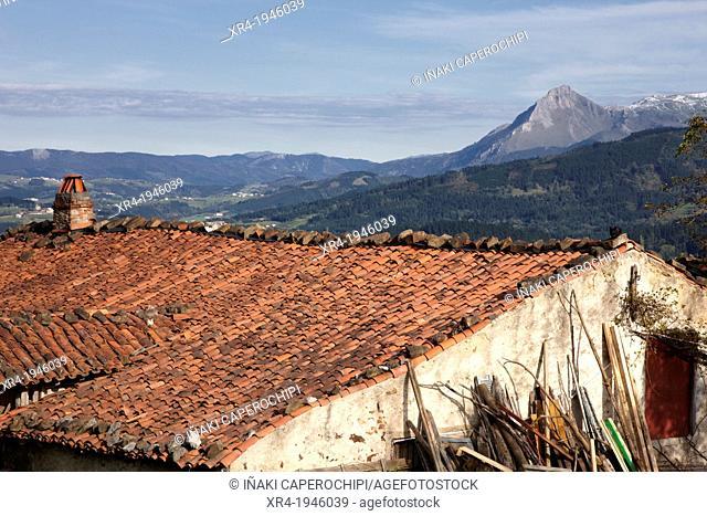 View of Mount Txindoki from Zerain, Goierri, Gipuzkoa, Guipuzcoa, Basque Country, Spain