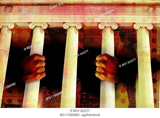 Prisoner behind law court prison bars