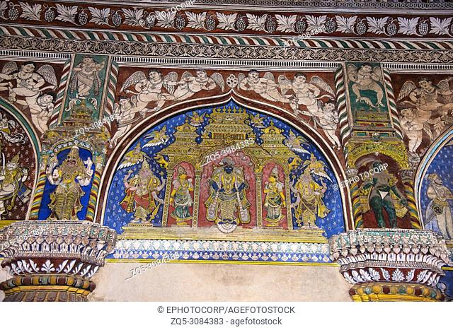 Colorful paintings on ceiling wall of Darbar Hall of the Thanjavur Maratha palace, Thanjavur, Tamil Nadu, India