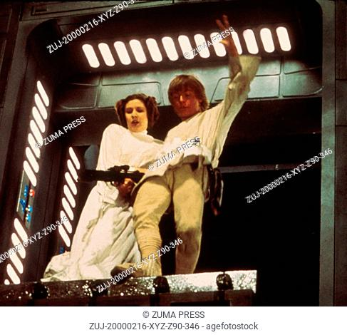 Feb 16, 2000; Hollywood, California, USA; Actors CARRIE FISHER (Princess Leia) & MARK HAMMILL (Luke Skywalker) in 'Star Wars