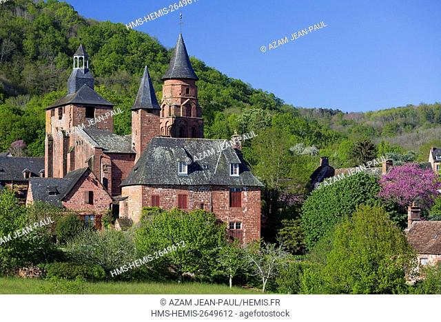 France, Correze, Collonges la Rouge, labelled Les Plus Beaux Villages de France (The Most Beautiful Villages of France), village built in red sandstone