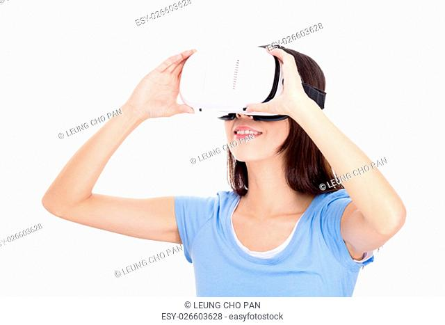 Woman getting experience using VR-headset
