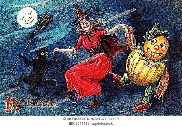 Witch dancing with pumpkin figure and black cat, Halloween, illustration