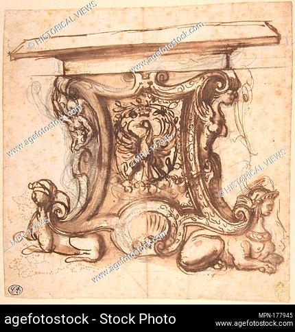 Design for the End Pier of a Table. Artist: Giovanni Battista Naldini (Italian, Fiesole ca. 1537-1591 Florence); Date: 1537-91; Medium: Pen