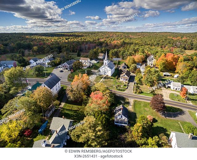 Aerial view of a town in Round Pond, Maine