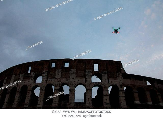 Rome, Italy 21st September 2014 - A drone being flown by an enthusiast by the Colosseum in Rome Italy