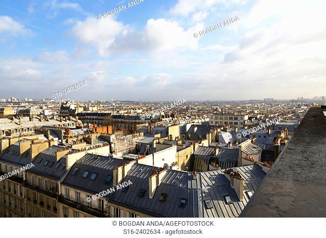 Paris, France - southest skyline seen from a Montmartre rooftop at sunset