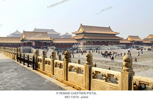Back side of the Gate of Supreme harmony and the Outer court in the Forbidden City Beijing China