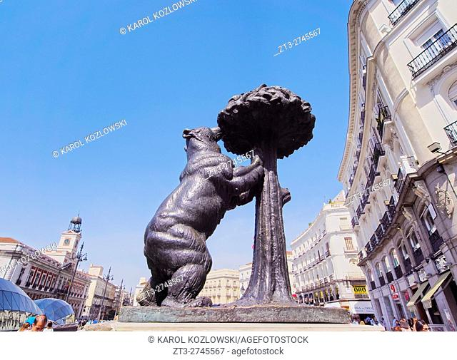 Spain, Madrid, Puerta del Sol, View of the Bear and the Madrono Tree Sculpture, symbol of the city