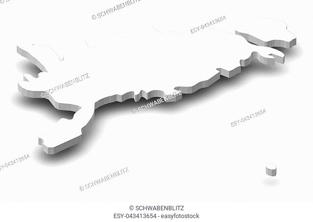 Map of Saare, a province of Estonia, as a gray piece with shadow
