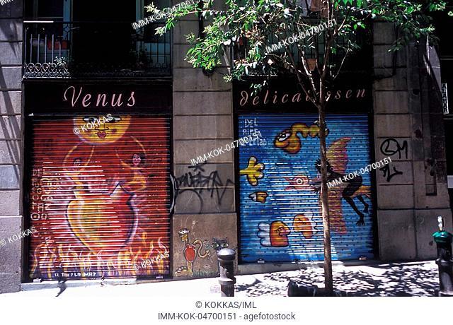 Building, graffiti, Barcelona, Spain, Europe