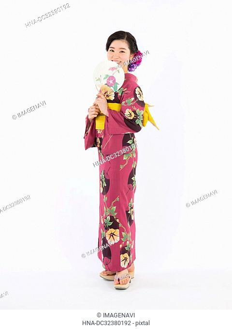 Woman in Yukata, Studio Shot