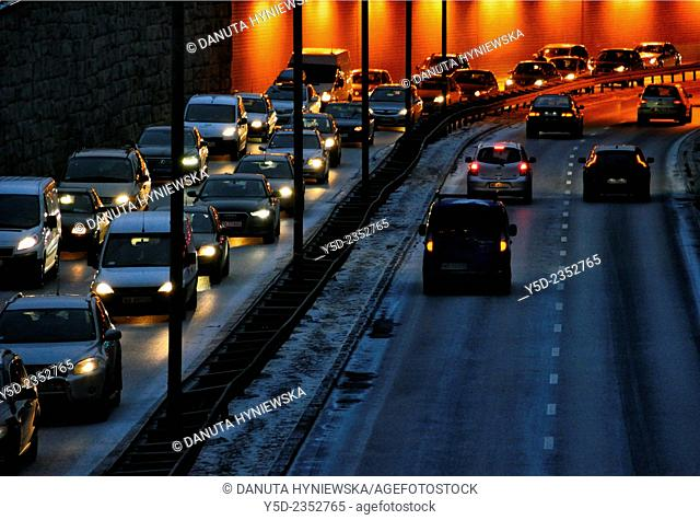 night traffic in a city, Warsaw, Poland