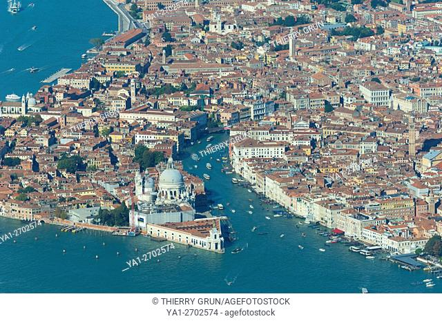 Italy, Venice lagoon, Dorsoduro, Grande Canal and Piazza San Marco (aerial view)