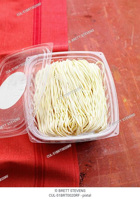 Package of fresh angel hair pasta