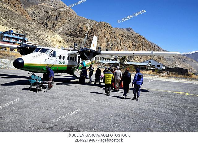 Tara Air twin otter aircraft at Jomsom airport. Nepal, Gandaki, Mustang, Jomsom