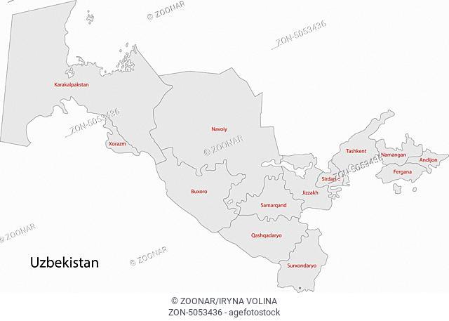 Gray Uzbekistan map