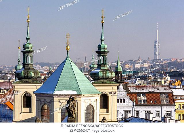 Towers and rooftops of Old Town, St. Salvator Church, Prague, Czech Republic
