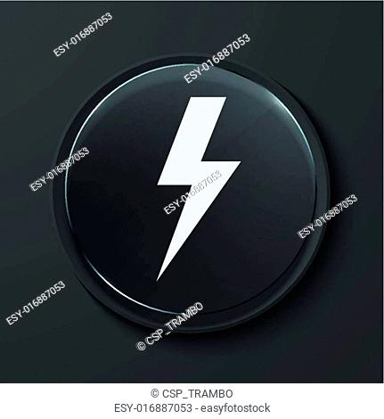Vector modern black glass circle icon