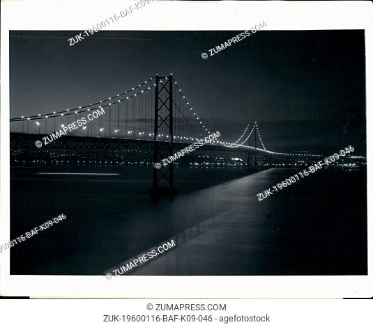 1956 - Longest Bridge in Europe Brightens Lisbon Skyline.: The Tagus River Bridge, the largest in Europe and the fifth largest in the world