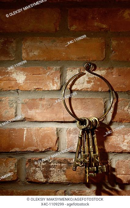 Bunch of old brass skeleton keys hanging on a brick wall