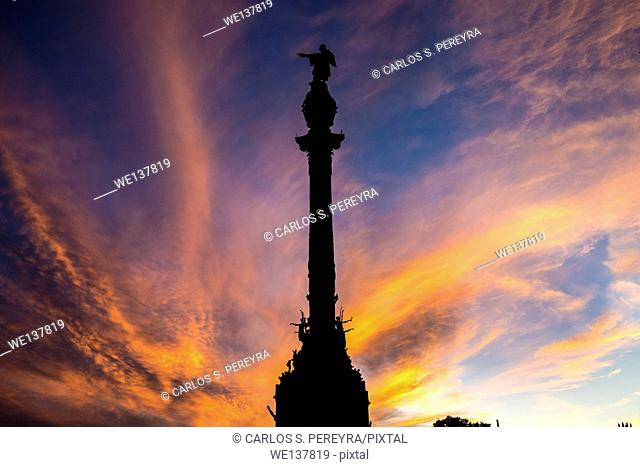Christopher Columbus statue in Barcelona, Spain