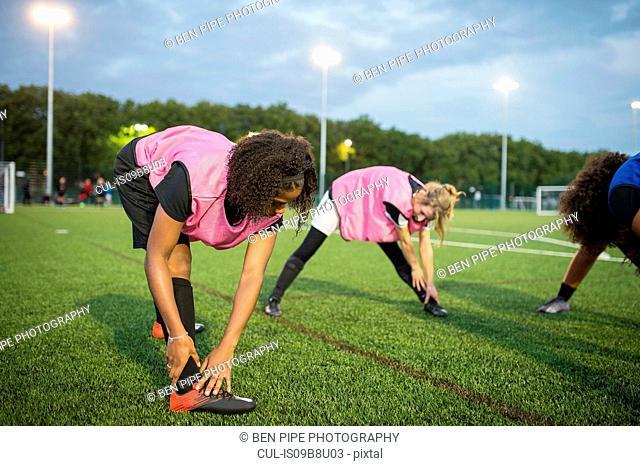 Women's football team practice, Hackney, East London, UK