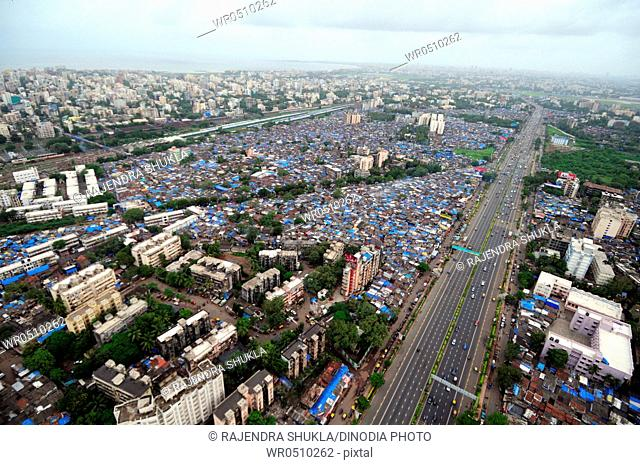 aerial view of western express highway , Khar Santacruz , Bombay Mumbai , Maharashtra , India