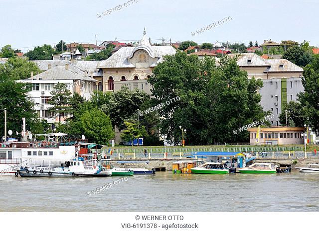 Romania, Tulcea at the Danube, Saint George branch, Tulcea County, Dobrudja, Gate to the Danube Delta, city view, harbour, Spiru Haret, Dobruja High School