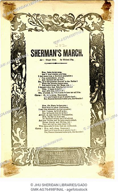 """Broadside from the American Civil War entitled """"""""Sherman's March, """""""" threatening Confederate troops by glorifying Union generals"""