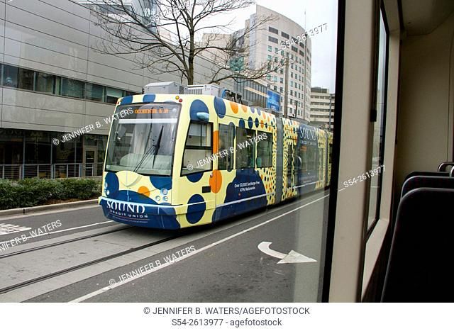 The First Hill streetcar in Seattle, Washington, USA, photographed from onboard another streetcar