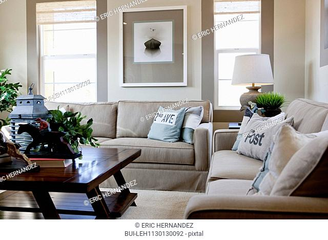 Interior of middle class living room