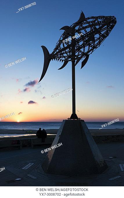 Statue of a tuna fish. Tarifa, Cadiz, Costa de la Luz, Andalusia, Spain
