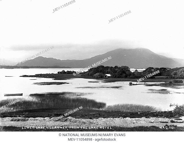 Lower Lake, Killarney, from the Lake Hotel - a scenic view over the lake to the mountains beyond. (Location: Republic of Ireland: County Kerry: Killarney)