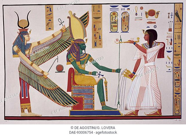 Ramesses IV in front of the god Ptah-Sokari-Osiris, from the tomb of Biban el-Moluk, plate CXLV from Monuments of Egypt and Nubia, Historical Monuments