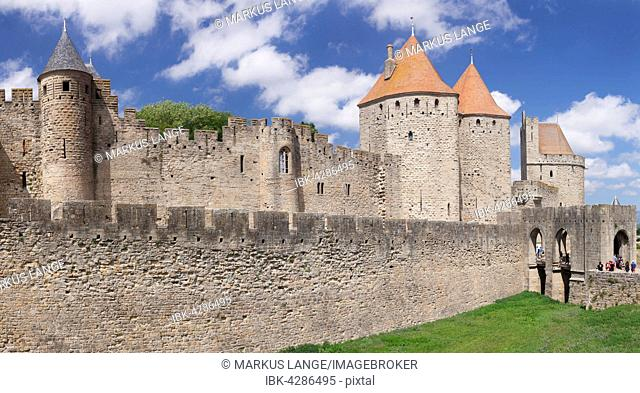 La Cite, medieval fortress city, Carcassonne, UNESCO World Heritage Site, Languedoc-Roussillon, South of France, France