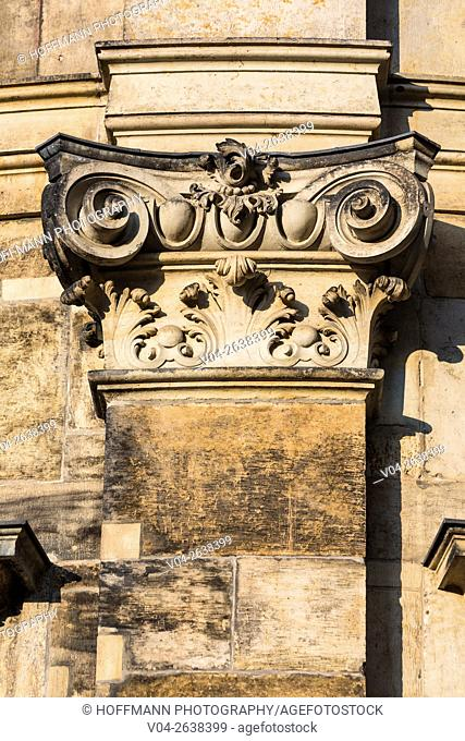 Close up of a sandstone capital, Dresden, Saxony, Germany, Europe