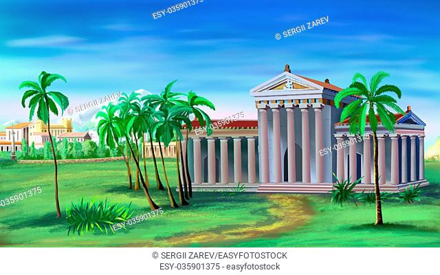 Digital painting of the Ancient Greek Temple with palms